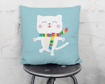 Cat kids throw pillow, nursery throw pillow, cushion cover, decorative pillows, children bedding, nursery decor, kids bedding, kids pillows