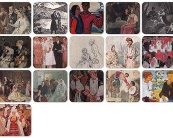 Brides, Weddings and rendezvous. Set of 16 Vintage Prints, Postcards -- 1950s-1980s