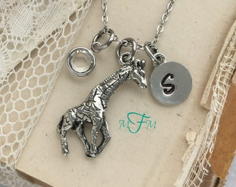 Giraffe Charm Necklace, Personalized Necklace, Silver Pewter Giraffe Charm, Custom Necklace, Swarovski Crystal birthstone, monogram