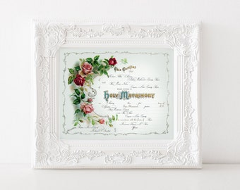 WEDDING MARRIAGE CERTIFICATE Custom Vintage Printable Digital Download Personalized