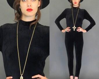 vintage 90s black velvet grunge revival catsuit // stirrups // boho jumpsuit // gypsy goth