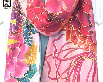 Silk Scarf Handpainted, ETSY, Gift for her, Reversible Scarf, Pink, Beige and Sage Green Kimono Floral Bouquet Scarf, Takuyo, 14x72 inches