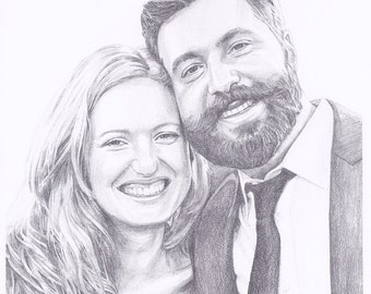 """Custom Portrait 8x10"""" - Sketch From Your Photo - Two Portraits or Pets"""