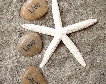 Live Love Laugh and Starfish Photography, Ocean Photo, Beach Photo