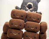 "Wombat Poop plush, Square Wombat Poo Plushie, wombat scat stuffed animal, handmade poop stuffy gift - Flat Ollie's BFF ""WombatPoo"""