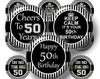 50th Birthday, Printable, Digital Collage Sheet, Bottle Cap Images, 1 Inch Circle, Instant Download, Black, White, Cupcake Toppers BS-1