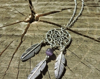 Dream catcher pendant, Feather charm necklace, Boho, Tibetan Silver with Purple bead, Native American charm necklace