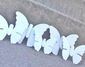 White Vintage Metal Butterfly Wall Hangings Set Wedding
