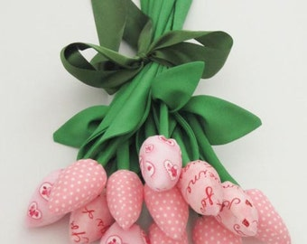 Fabric tulip flowers for mom and girl dozen of tulips light pink bouquet gift for Valentine's, birthday bridal shower - gift for her and him