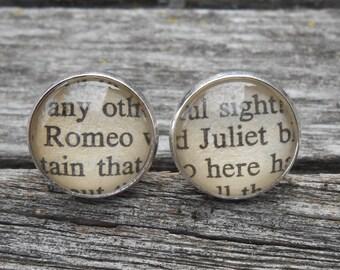 Romeo & Juliet, Shakespeare Cufflinks. Wedding, Men's Christmas Gift, Dad. Silver Plated. CUSTOM ORDERS WELCOME