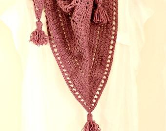 Purple crochet scarf,Triangle crochet scarf,Triagle Shawlette,Boho crochet scarf,Grape neck warmer,Purple crochet shawl, mauve crochet cowl