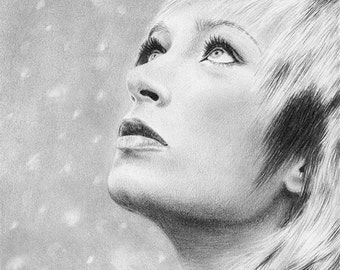 Woman Snow Falling Original Pencil Drawing Snowflakes Winter Hope Looking Up Portrait Graphite Realistic