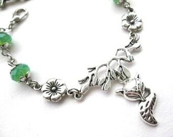 Silver fox bracelet jewelry flower branch bracelet with frosted green crystal beads