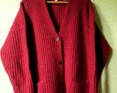 Oversized Cardigan thick chunky heavy dark red vintage 80s 90s wool knit sweater jacket coat pockets boyfriend grandpa hipster women small
