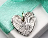 Mother's Day Gift Heart Fingerprint Jewelry Charm for Charm Bracelet, Pendant, Necklace Gift Custom made from .999 fine silver