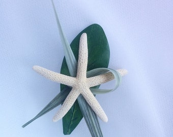 Wedding Natural Touch Starfish and grass accents Silk Wedding Beach Boutonniere