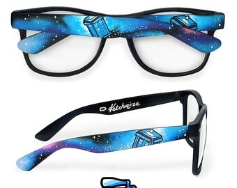 Doctor Who galaxy clear lens prescription glasses custom unique gift for girlfriend birthday gift for him geek wayfarer whovian space Tardis