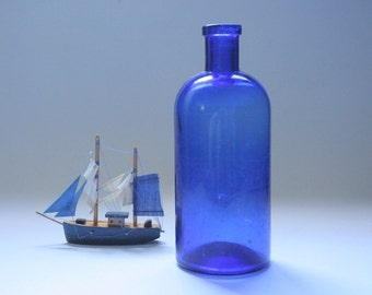 Vintage cobalt glass bottle, blue bottle, blue glass, medicine bottle