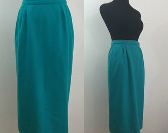 Teal You Be Mine // 60s 70s Teal Green Pencil Skirt