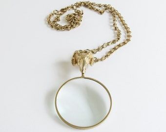 Magnifying Glass Necklace / Ram Head Bird Vintage Necklace / Osiris Necklace / Accessocraft NYC