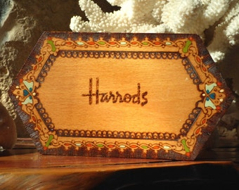 Harrods Wood Box Burned & Painted, Harrods Burned Painted Box
