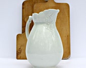 Antique White Ironstone Pitcher Large Ornate - Floral and Fern - Large Pitcher - Mellor & Co - c 1890s - Trenton, NJ Pottery
