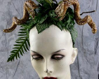 Spring Sale: Male Female Unisex- Woodland Elf Fairy Headpiece w horns, Costume Renaissance BOHO headband Larp cosplay Burning Man Pegan