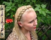 HEADBAND BRAIDED large Snow White hair piece Medieval BRAID bridal tiara Renaissance crown Custom Color diadem Fantasy Wedding hair jewelry