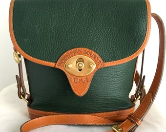 Vintage Dooney & Bourke Full Sized Cavalry Spectator Bag, Forest Green All Weather Leather with Tan Trim