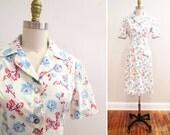 Vintage 1940s Dress   Floral Cotton 1940s Blouse and Skirt Set   1940s Suit   size small - medium   4D002