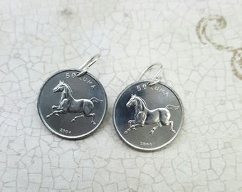 Horse earrings - horse coin dangles - year of the horse - trotting horse earrings - pony earrings - coin jewelry - horse riding
