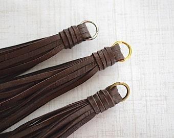 NEW SIZE! Brown Deerskin Leather Tassel -90mm- Pendant - 1 Piece