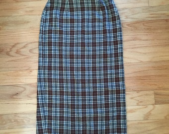 Flannel long plaid skirt size XS to small