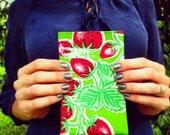 """Mini Strawberry Oilcloth Bag, green and red, for essentials, makeup, or jewelry. 6.25"""" by 4"""""""