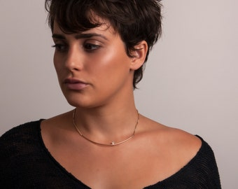 Silver or Gold-Fill Moment Collar Necklace with Moonstone or Hematite   Sequence Collection by Haley Lebeuf