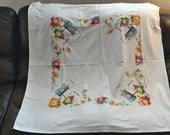 Vintage Coffee / Tea Pot Tablecloth - flowers teapot kettle cup blue green red yellow