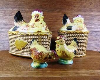 Vintage Set Rooster Chicken Hen on Basket S&P and Serving Pieces with Lids ~Rossini Ceramic Japan Original Label