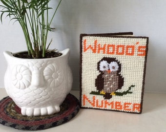 Address Book, Hand Stitched Canvas Cover, Owl Address Book, Phone Numbers, Anniversary Book, Birthdays, Christmas Card Record Needlepoint