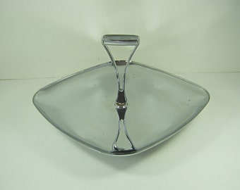 Vintage CHROME SANDWICH TRAY Metal Tidbit Appetizer Cheese Server Pastry Retro Barware