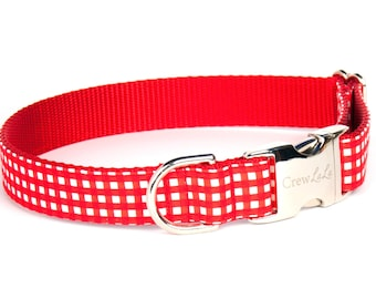 Crew Lala™ Red Colorblock Gingham Dog Collar
