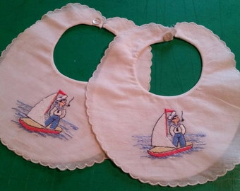 Vintage Sailor Boy Bib, Set of 2