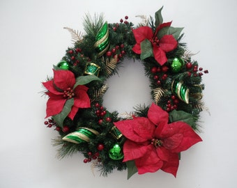 Red Poinsettia Ornament Holly Christmas Wreath Red Green Holiday Door Wreath (FW143)
