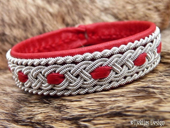 Sami Red Leather Bracelet VANAHEIM Handcrafted Swedish Lapland Reindeer Cuff with Tin Thread Braid and Antler Button - Scandinavian Folklore