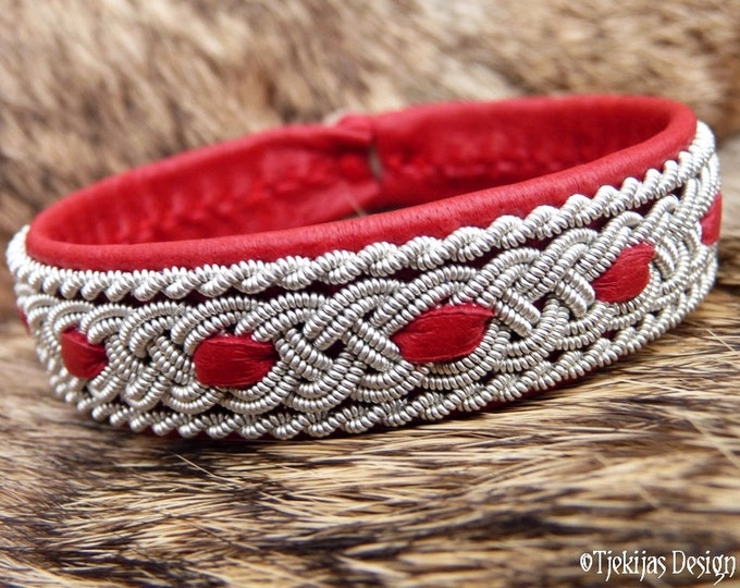 Sami Red Leather Bracelet VANAHEIM Handcrafted Swedish Lapland Reindeer Cuff with Tin Thread Braid and Antler Button - Scandinavian Folklore