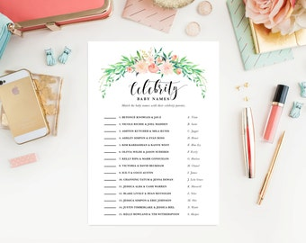 Instant Download - Delicate Bouquet Celebrity Baby Names Game Cards