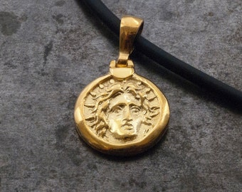 Gold Ancient Greek Coin Necklace, God Apollo Small Coin Pendant, God Sun Symbol, Ancient Greece, Statement Unisex Necklace, Men's Jewelry