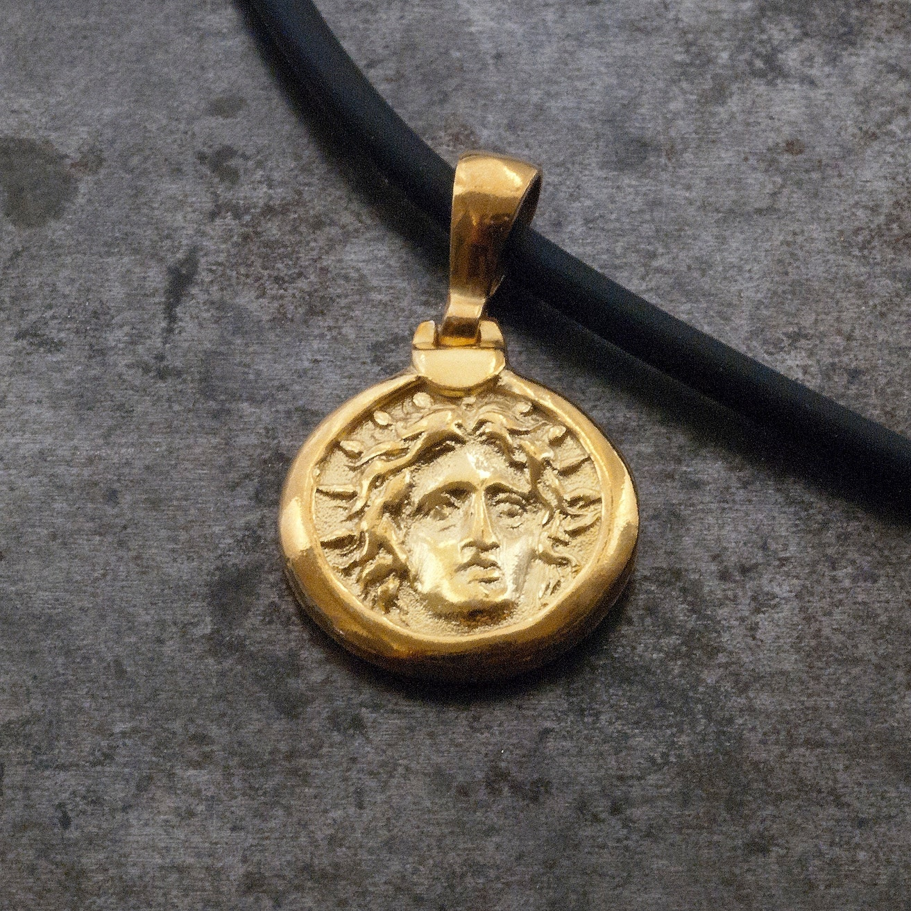 gold ancient greek coin necklace god apollo small coin