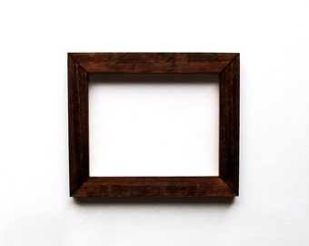 8x10 dark walnut frame - beautiful high gloss, natural wood picture frame, stained walnut
