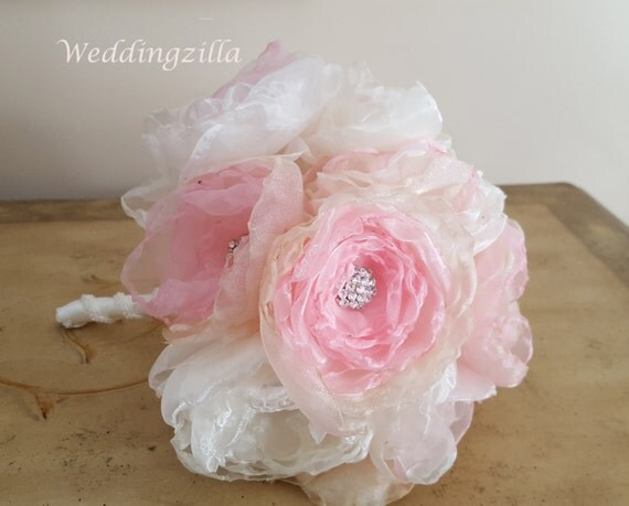 Handmade Fabric Flower Brooch  Bouquet, Blush Wedding Bouquet,  Victorian Bridal Bouquet,  Wedding Bouquet, Wedding Flowers