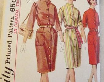 Vintage Dress Pattern, 60s Dress Pattern, Shirtwaist Dress, with Mandarin Collar, Simplicity 6040, Size 14 bust 34, Mad men